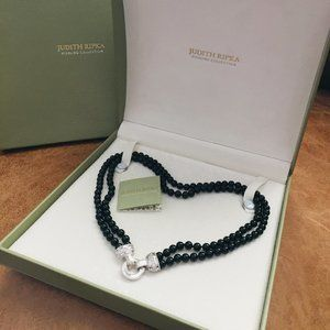 JUDITH RIPKA STERLING ONYX DOUBLE STRAND NECKLACE